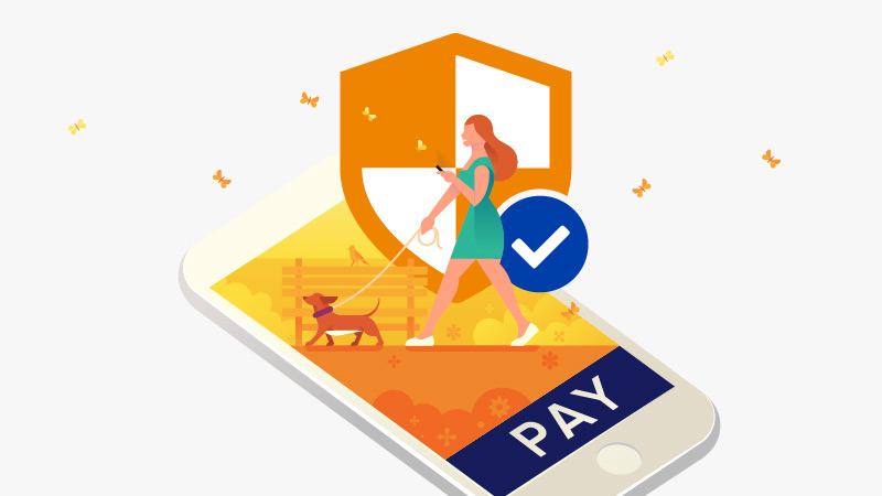 A conceptual illustration of a dog walker that conveys payment security.